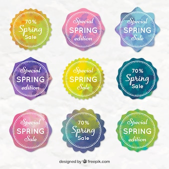 Watercolor special offers spring labels
