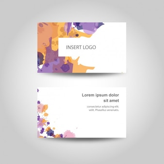 Watercolor splashes business card
