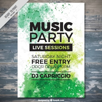 Watercolor splashes music party flyer