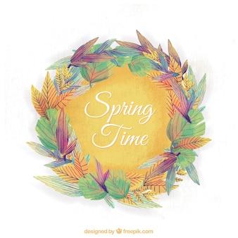 水彩春の花輪