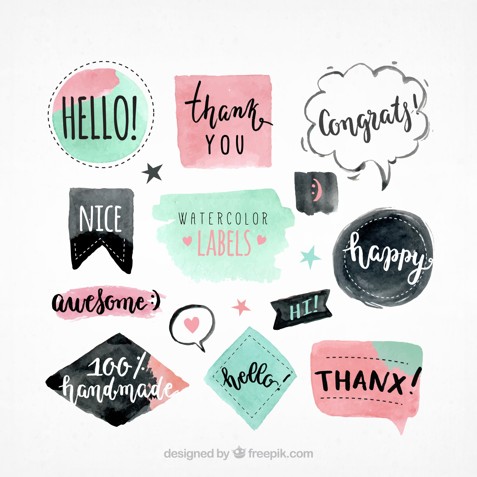 Watercolor stickers set with messages
