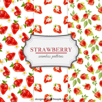 Watercolor strawberries patterns