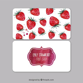 Watercolor strawberries visit card