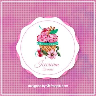 Watercolor strawberry ice cream