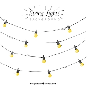 Watercolor string lights background