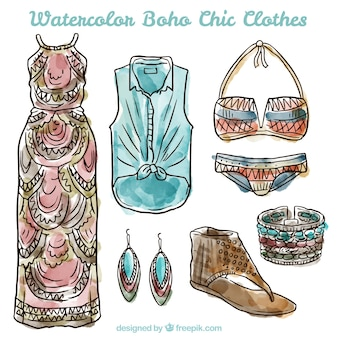 Watercolor stylish boho clothes collection