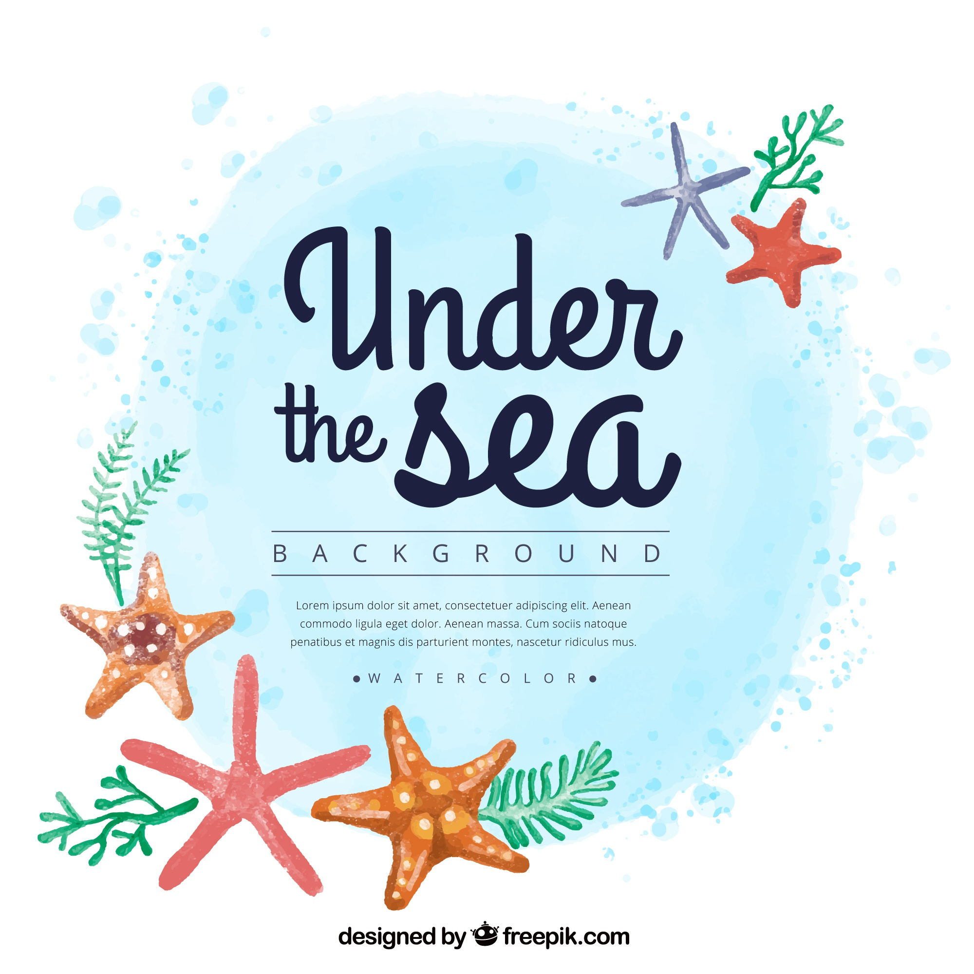 Watercolor summer background with starfishes