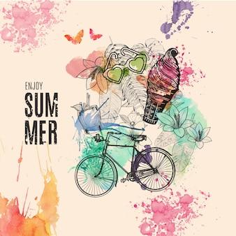 水彩夏のカード