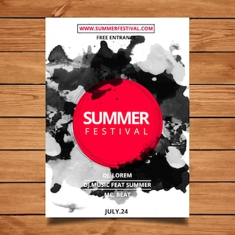 Watercolor summer festival poster