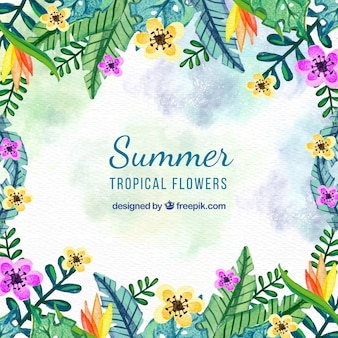 Watercolor summer floral background