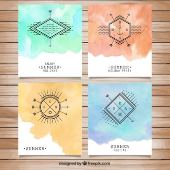 Watercolor summer hollidays brochures
