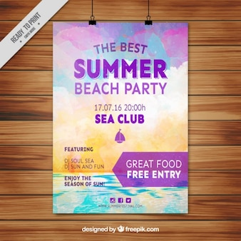 Watercolor summer party poster with beach