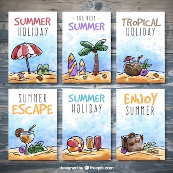 Watercolor summer posters set