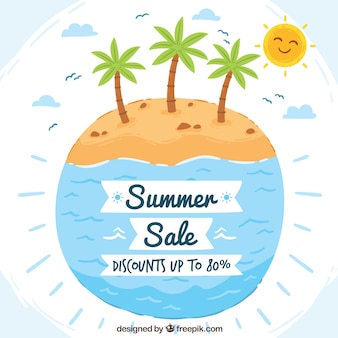 Watercolor summer sale background