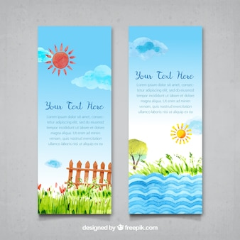 Watercolor sunny landscape banners