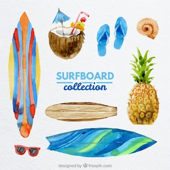 Watercolor surf elements collection