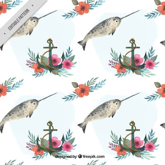 Watercolor swordfish with anchor pattern