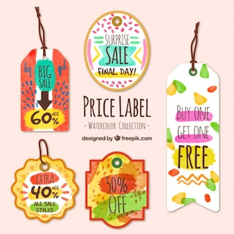 Watercolor tags with great discounts