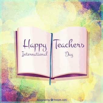 Watercolor teacher's day background with book