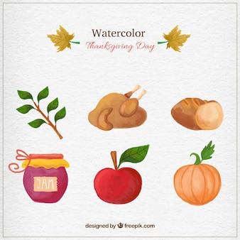 水彩感謝の日要素