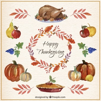 Watercolor Thanksgiving Elements Card