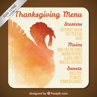 Watercolor thanksgiving turkey menu