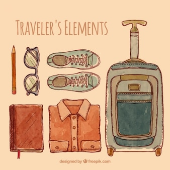 Watercolor traveler objects collection