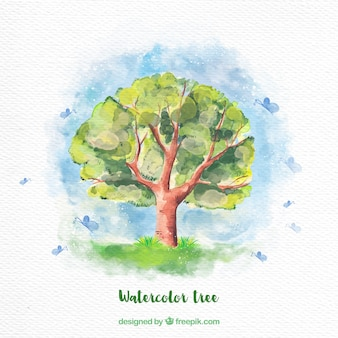 Watercolor tree background