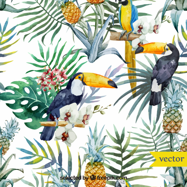 Watercolor tropical birds and plants