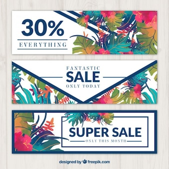 Watercolor tropical flowers sale banners