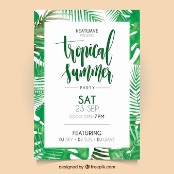 Watercolor tropical palm leaves flyer