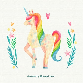 Watercolor unicorn background with floral details