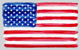Watercolor usa flag