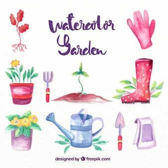 Watercolor useful garden accessories