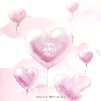 Watercolor valentine background with balloons and clouds