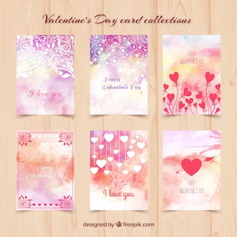 Watercolor valentine day cards