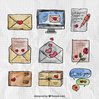 Watercolor Valentine Day Messages Set