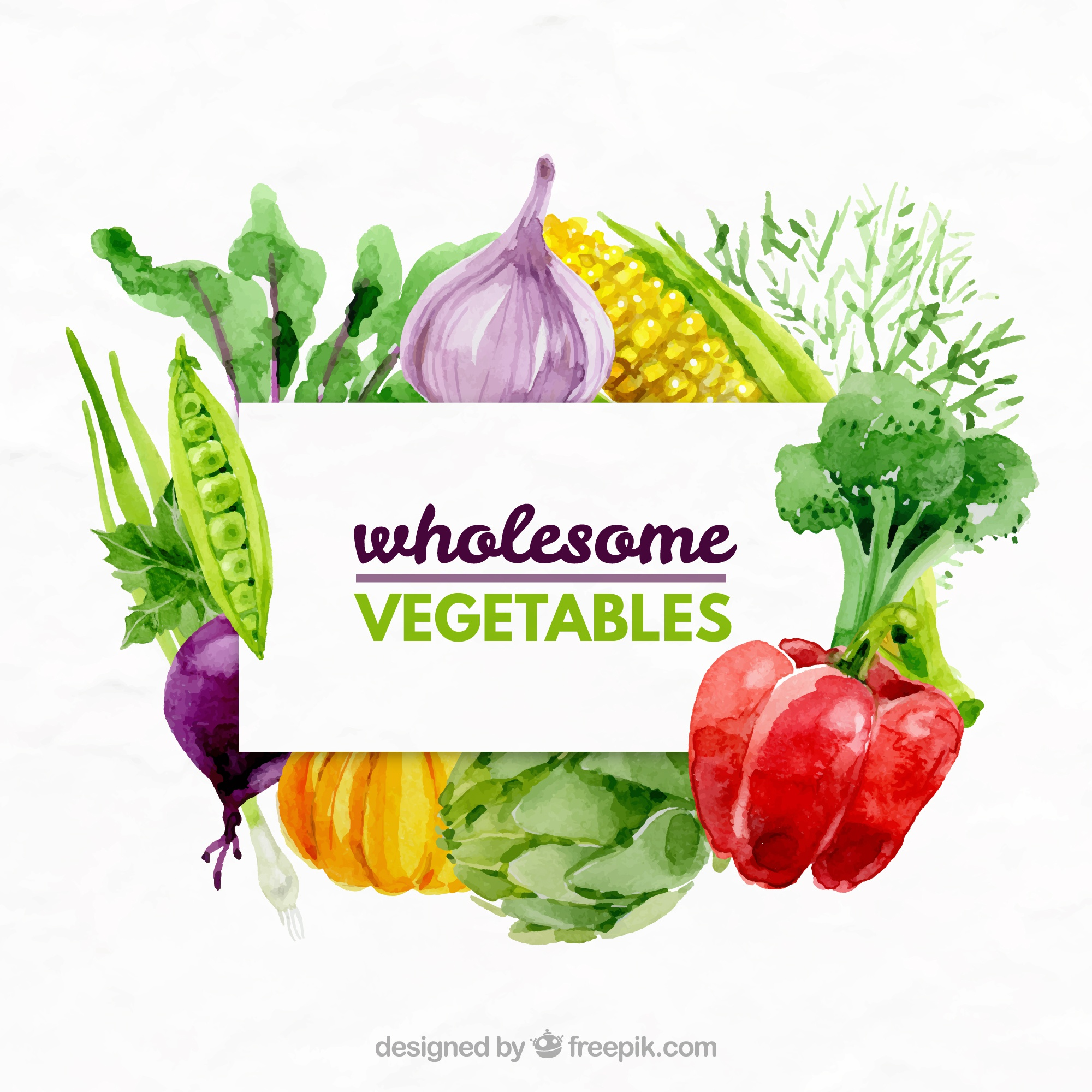 Watercolor variety of vegetables background