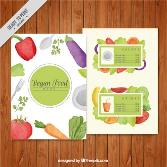 Watercolor vegan food menu template