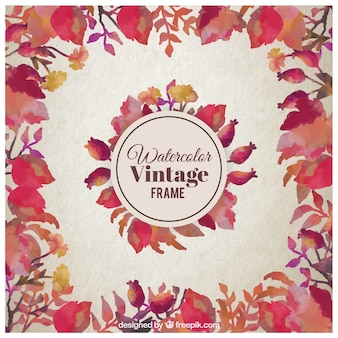 Watercolor vintage leaves frame
