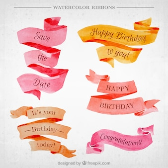 Watercolor vintage ribbons with messages