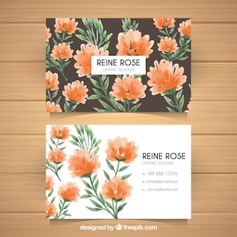 Watercolor visiting card with floral decoration