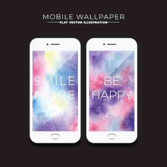 Watercolor wallpapers with messages for mobile