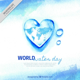 Watercolor water heart background