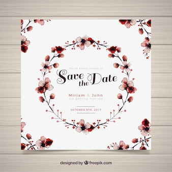 Watercolor wedding card with circular frame