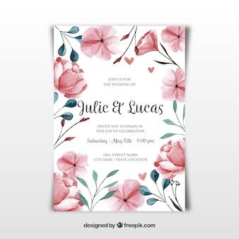 かわいい花と水彩の結婚式のカード