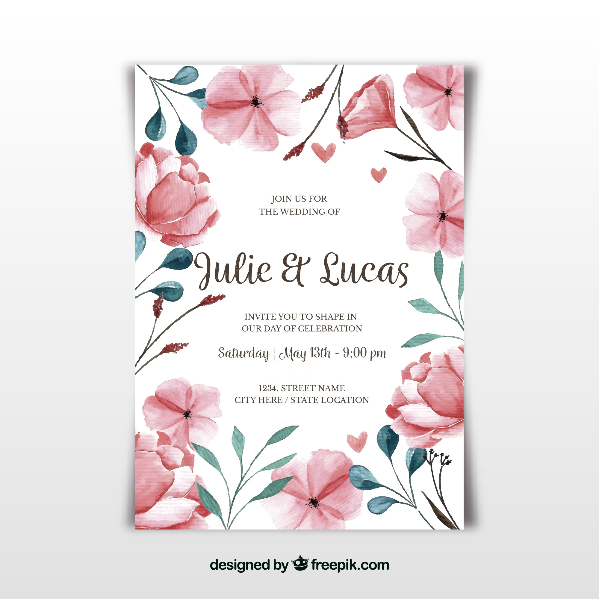Watercolor wedding card with cute flowers