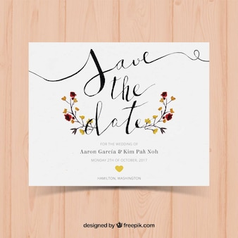 Watercolor wedding card with modern style