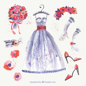 Watercolor wedding dress and accessories