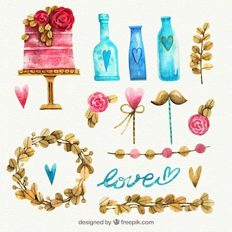 Watercolor wedding elements collection